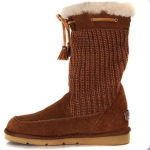 Surburb Crochet S/N 5124 Knit Ugg Boots -Chocolate